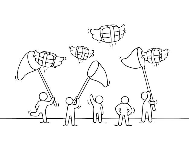 Schets van werkende kleine mensen met vliegende geschenken.