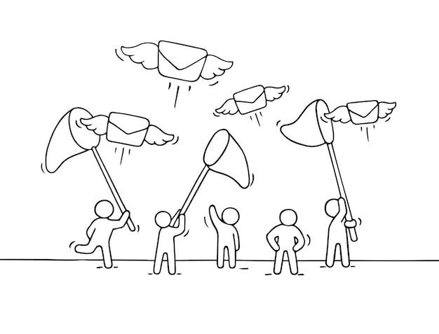 Schets van werkende kleine mensen met vliegende letters.