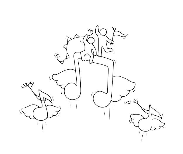 Schets van werkende kleine mensen met vliegende notities. doodle schattige miniatuurscène van arbeiders over muziek. hand getekende cartoon voor ontwerp van school en onderwijs.
