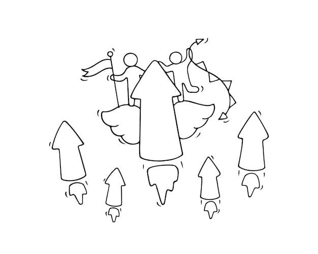 Schets van werkende kleine mensen met vliegende pijlen.