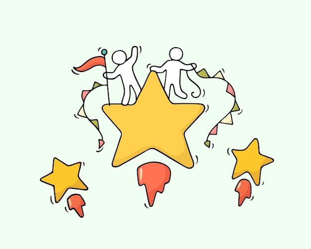 Schets van werkende kleine mensen met vliegende sterren. doodle schattige miniatuurscène van arbeiders. hand getekend cartoon afbeelding