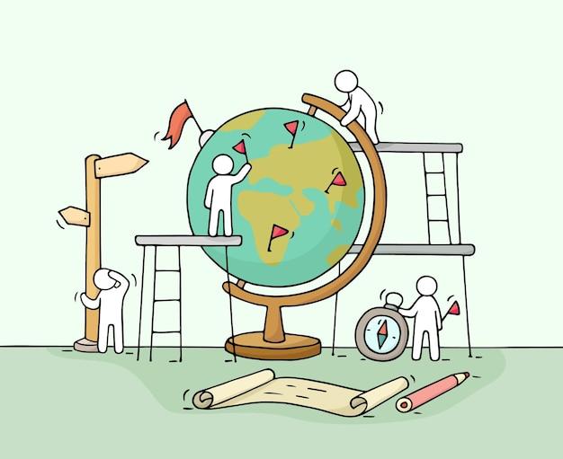 Schets van werkende kleine mensen met wereldbol cartoon vectorillustratie voor onderwijsontwerp