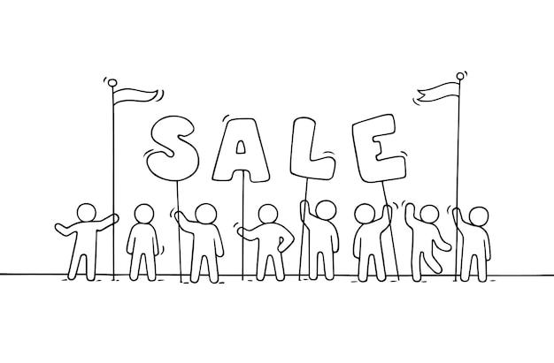 Schets van werkende kleine mensen met woordverkoop. doodle schattige miniatuurscène van arbeiders die zich voorbereiden op het winkelen. hand getekende cartoon