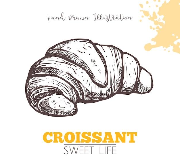 Schets van zoete croissant op wit wordt geïsoleerd