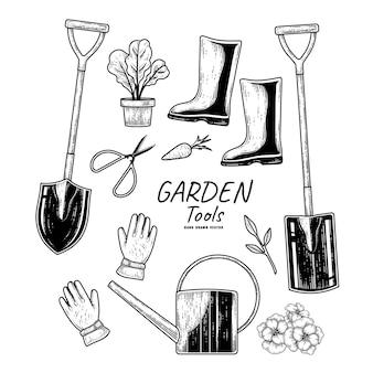 Schets vector set tuingereedschap hand getrokken elementen illustrationts