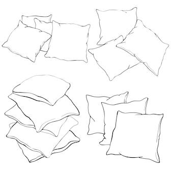 Schets vectorillustratie van kussen kunst kussen geïsoleerd wit kussen bed kussen