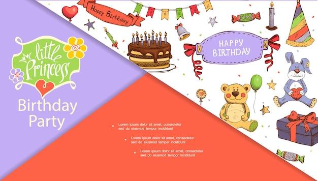 Schets verjaardagsfeestje concept dia met cake kaarsen snoepjes speelgoed aanwezig vak kegel hoed guirlande bel ballonnen sterren lolly