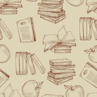 Schets vintage boeken naadloos patroon