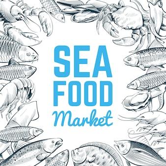 Schets vis en zeevruchten sjabloon