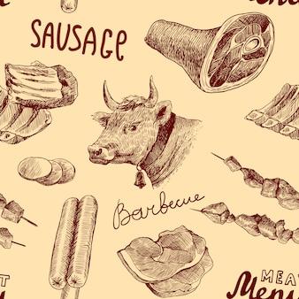 Schets vlees naadloos