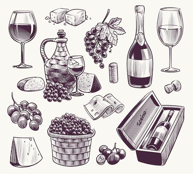 Schets wijn illustratie