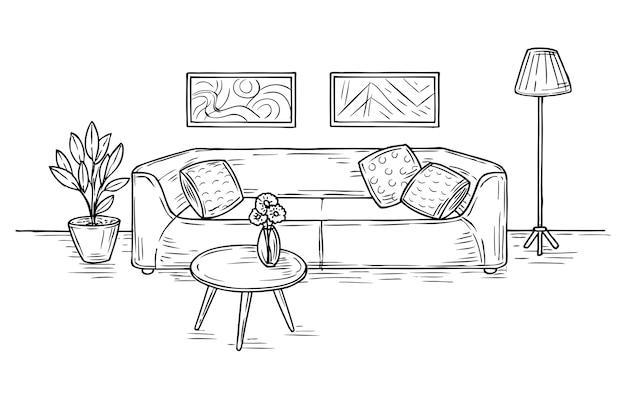 Schets woonkamer interieur