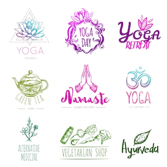 Schets yoga logo set