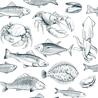 Schets zeevruchten naadloos patroon. oester zalm kreeft schelpdieren.