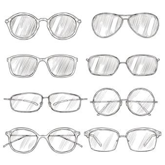 Schets zonnebril. hand getrokken lenzenvloeistof frames, doodle brillen. mannelijke en vrouwelijke bril geïsoleerd mode vector vintage set