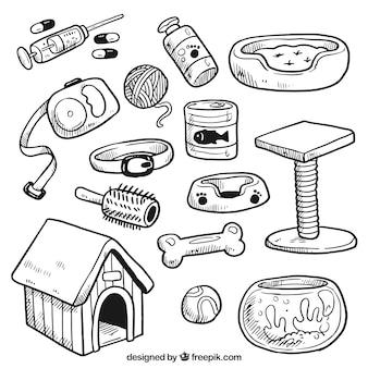 Schetsen elementen van dierenkliniek