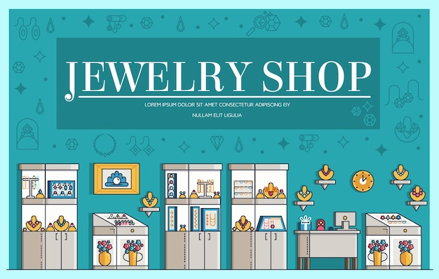 Schetsen het sieraden winkel pictogrammen illustraties