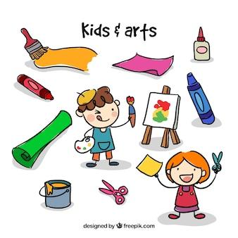 Schetsen kunstenaar kinderen met ambachtelijke elementen