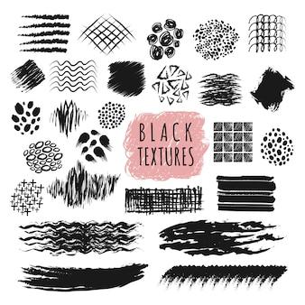 Schetsen penseel slag textuur ontwerp vector-elementen. abstracte schets pen en potlood ruwe strip lijnen instellen