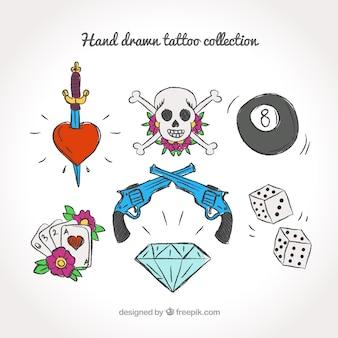 Schetsen set van mooie gekleurde tatoeages
