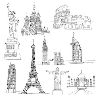 Schetsen van beroemde plaatsen. beroemde gebouwen in de wereld