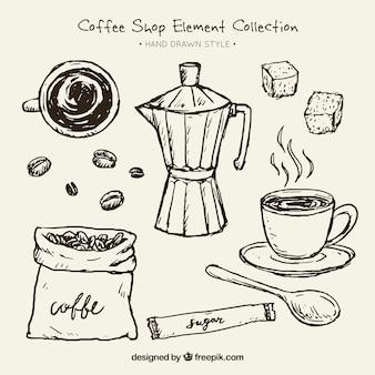 Schetsen van een koffiezetapparaat en elementen voor koffie verpakking