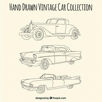 Schetsen van elegante antieke auto's