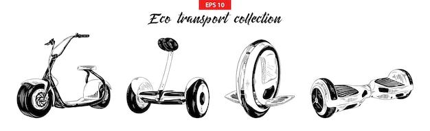 Schetsen van elektrisch vervoer, scooter, gyroboard