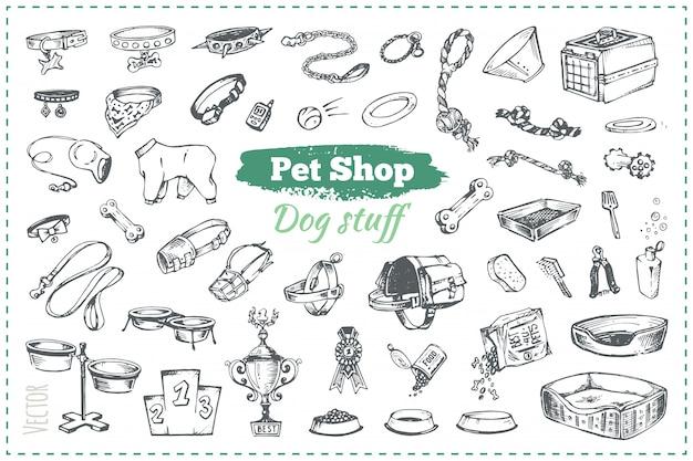 Schetsen van goederen in dierenwinkel voor honden en puppy's, hand getrokken vintage stijlillustraties