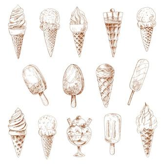Schetsen van ijshoorntjes en fruitige ijslollys, met chocolade bedekt ijs op stok en ijscoupe-desserts gegarneerd met verse bessen, karamelsaus en fruitjam, noten en wafelbuizen