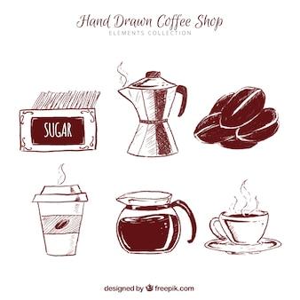 Schetsen van koffie accessoires collectie