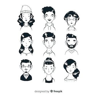 Schetsen van mensen avatar collectie