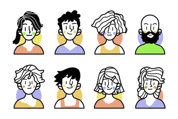 Schetsen van mensen met kleurrijke kleding