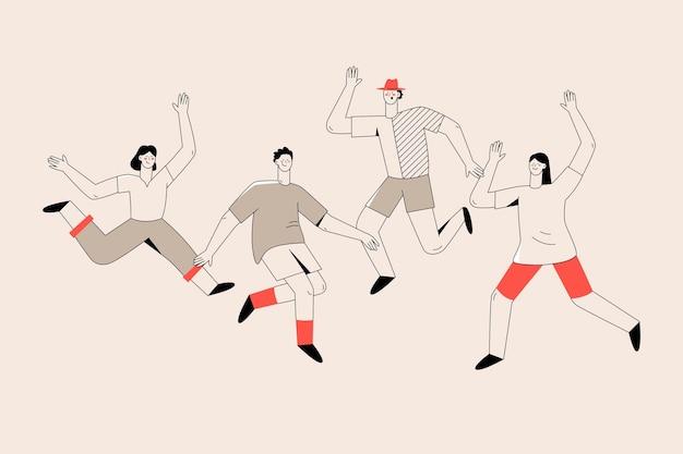Schetsen van mensen springen jeugddag evenement