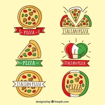Schetsen van pizza logos