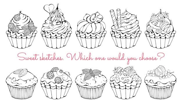 Schetsen van verschillende soorten zoete manden en cupcakes.