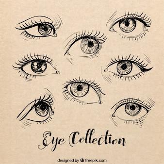 Schetsen van vrouwelijke ogen stellen