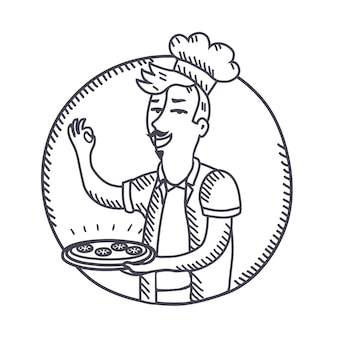 Schetsen zwart-wit afbeelding van chef-kok bedrijf