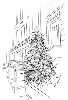 Schetskerstboom dichtbij het gebouw, hand getrokken nieuwjaarsstraat. wintervakantie buitenkant