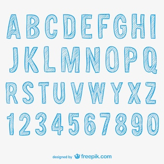 Schetsmatig alfabet en cijfers