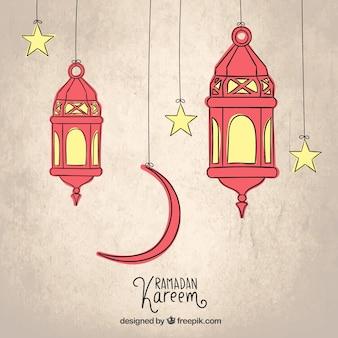 Schetsmatig arabisch lantaarns voor ramadan kareem