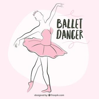 Schetsmatig ballerina met een roze tutu