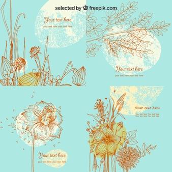 Schetsmatig bloemen kaart sjabloon