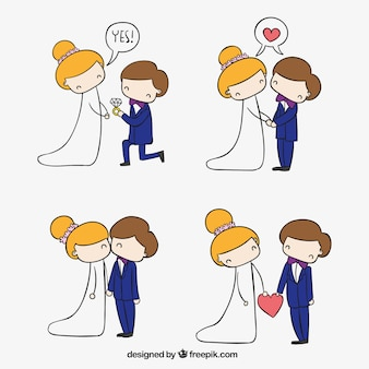 Schetsmatig bruid en bruidegom