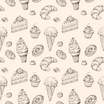 Schetsmatig dessert naadloos patroon