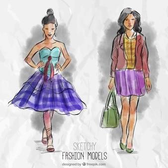 Schetsmatig fashion modellen