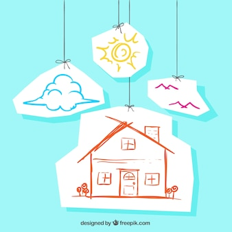 Schetsmatig huis hangend