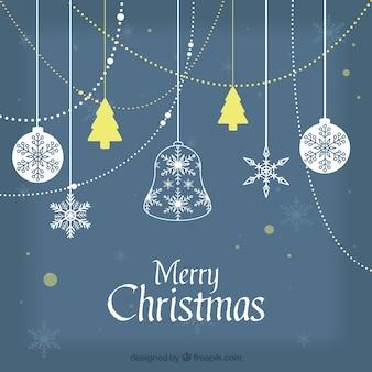 Schetsmatig kerst ornamenten achtergrond Gratis Vector