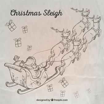 Schetsmatig kerst slee achtergrond