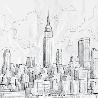 Schetsmatig new york skyline